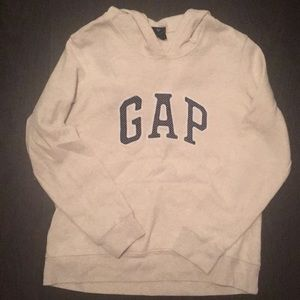 Gap Hoodie White Gray with Navy Polka Dots